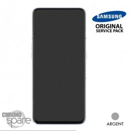 Ecran LCD + Vitre tactile + châssis argent Samsung Galaxy A80 A805F (officiel)