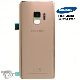 Vitre arrière + vitre caméra Or Samsung Galaxy S9 G960F (Officiel)