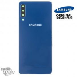 Vitre arrière + vitre caméra Bleu Samsung Galaxy A7 2018 SM-750F (Officiel)