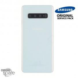 Vitre arrière + vitre caméra Blanc Samsung Galaxy S10 G973F (Officiel)