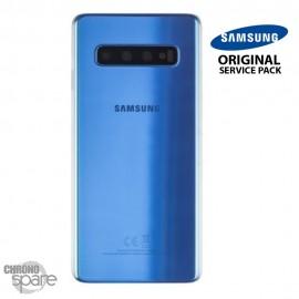 Vitre arrière + vitre caméra Bleu Samsung Galaxy S10 G973F (Officiel)