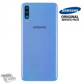 Vitre arrière + vitre caméra Bleu Samsung Galaxy A70 A705F (Officiel)