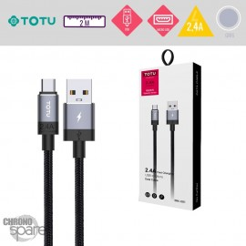 Câble USB vers Micro USB 2,4A gris TOTU