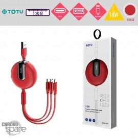 Câble 3 en 1 avec enrouleur 18W rouge TOTU