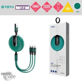 Câble 3 en 1 avec enrouleur 18W vert TOTU
