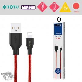 Câble USB vers Lightning 12W rouge TOTU