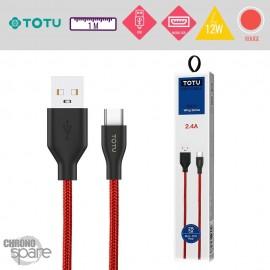Câble USB vers Micro USB 12W rouge TOTU