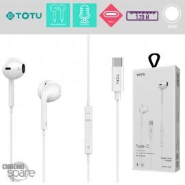 Ecouteurs Type-C Blanc TOTU