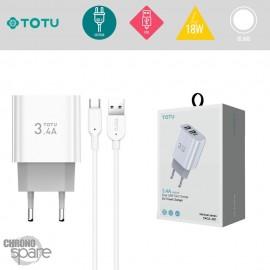 Chargeur secteur 18W 2 USB + câble Type-C TOTU