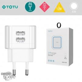Chargeur secteur 12W 2 USB TOTU