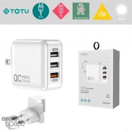 Chargeur secteur 12W 3 USB TOTU