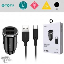 Chargeur voiture 17W 2 USB avec câble Type-C noir TOTU