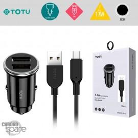 Chargeur voiture 12W 2 USB avec câble Lightning noir TOTU