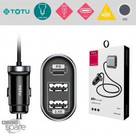 Chargeur voiture 48W 2USB+1Type-C gris TOTU