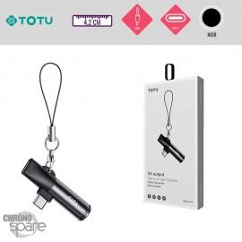 Adaptateur Type-C 2 en 1 - Charge et écoute Type-C+Jack Noir TOTU