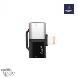 Adaptateur Lightning WIWU Gemini 2 sorties - Charge & écoute - Argent