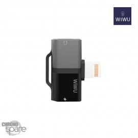 Adaptateur Lightning WIWU Gemini 2 sorties - Charge & écoute - Gris