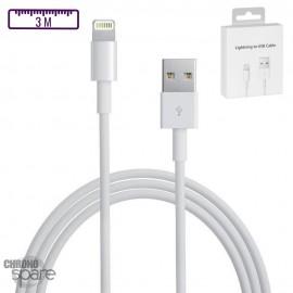 Câble de charge compatible Lightning iPhone - Premium 3M avec Boite
