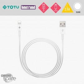 Câble USB vers Lightning 10W-2,1A blanc 1M TOTU