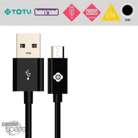 Câble USB vers Micro USB 10W-2,1A noir 1M TOTU