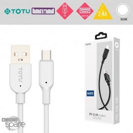Câble USB vers Micro USB 10W-2,4A blanc 1M TOTU
