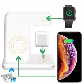 Chargeur Sans Fil 3 en 1 iPhone / iWatch / Airpods Blanc