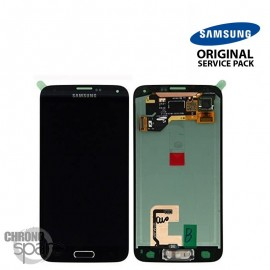 Vitre tactile et écran LCD Samsung Galaxy S5 noir G900F (officiel) GH97-15959B