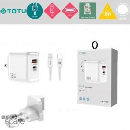Chargeur secteur 18W 1 USB + 1 Type-C TOTU