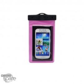 Pochette étanche rose pour smartphone 5.8 pouces