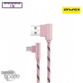 Câble coudé tressé Micro USB 2 mètres- Or Rose