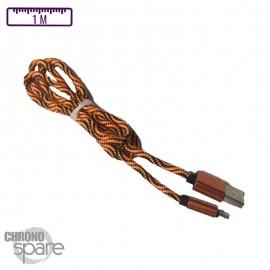 Câble tressé activ wear 1m - Micro USB - Orange & Noir