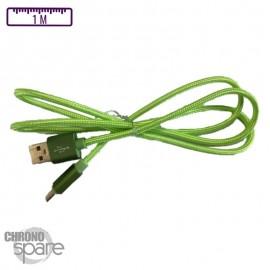 Câble MicroUsb vert Tressé