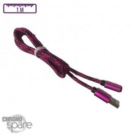 Câble tressé activ wear 1m - Micro USB - Violet & Noir