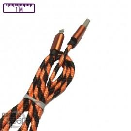 Câble tressé 1m - Micro USB - Orange/Noir