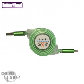 Câble enrouleur transparent 1 mètre Micro USB - Vert