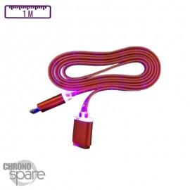 Câble lumineux 1 mètre - Micro USB - Rose