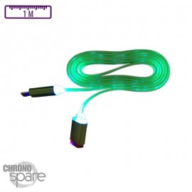 Câble lumineux 1 mètre - Micro USB - Vert