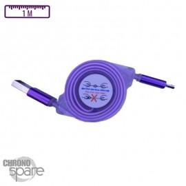 Câble enrouleur transparent 1 mètre Micro USB - Violet