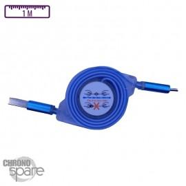 Câble enrouleur transparent 1 mètre Micro USB - Bleu