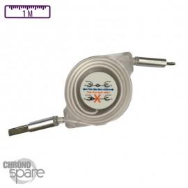 Câble lumineux avec enrouleur 1 mètre - Micro USB - Blanc