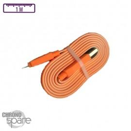 Câble plat bicolore Micro USB - Orange