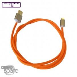 Câble Micro Usb orange Tressé