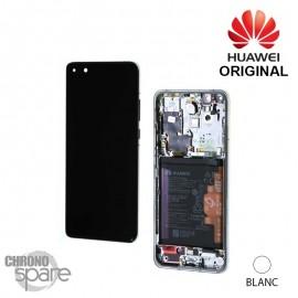 Bloc écran LCD + vitre tactile + batterie Huawei P40 Pro blanc (officiel)
