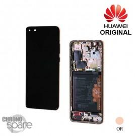 Bloc écran LCD + vitre tactile + batterie Huawei P40 Pro or (officiel)