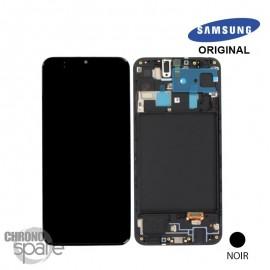 Ecran LCD + Vitre Tactile + châssis noir Samsung Galaxy A20 A205F (officiel)