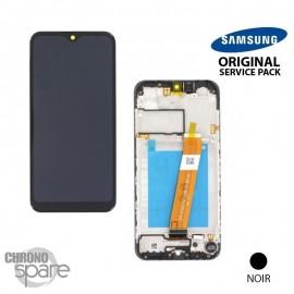 Ecran LCD + Vitre Tactile + châssis noir Samsung Galaxy A01 A015F (officiel)