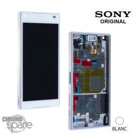 Ecran LCD et vitre tactile blanche avec châssis Argent Xperia Z5 Compact E5823/E5803 (officiel) - 1297-3728