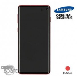 Ecran LCD + Vitre Tactile + châssis Rouge Samsung Galaxy S10 G973F (officiel)