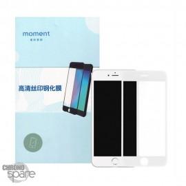 Vitre protection en verre trempé anti-lumière bleue iphone 6/6S blanche avec boîte MOMENT