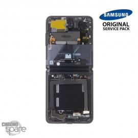 Ecran LCD + Vitre Tactile + châssis noir Samsung Galaxy Z Flip F700 (officiel)